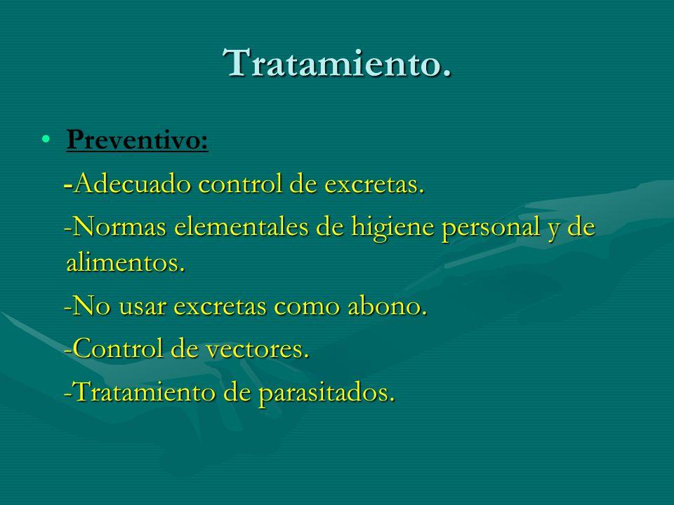 Tratamiento. Preventivo: -Adecuado control de excretas.