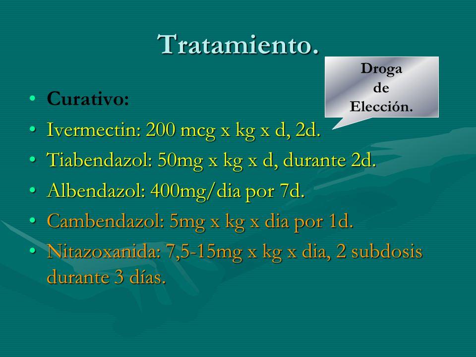 Tratamiento. Curativo: Ivermectin: 200 mcg x kg x d, 2d.