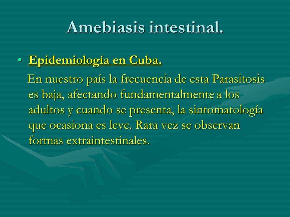 Amebiasis intestinal. Epidemiología en Cuba.