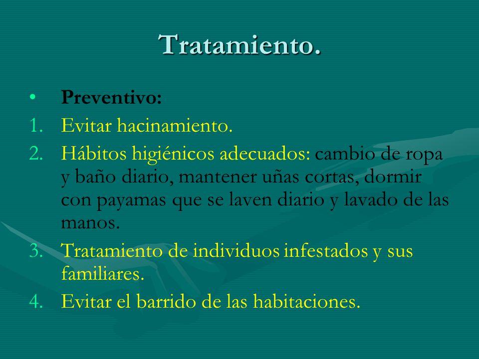 Tratamiento. Preventivo: Evitar hacinamiento.