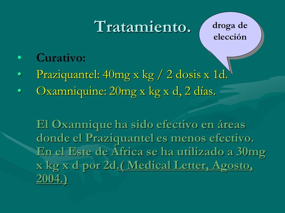 Tratamiento. Curativo: Praziquantel: 40mg x kg / 2 dosis x 1d.