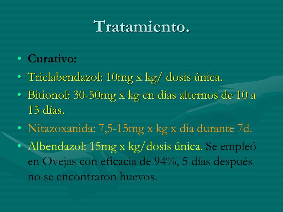 Tratamiento. Curativo: Triclabendazol: 10mg x kg/ dosis única.