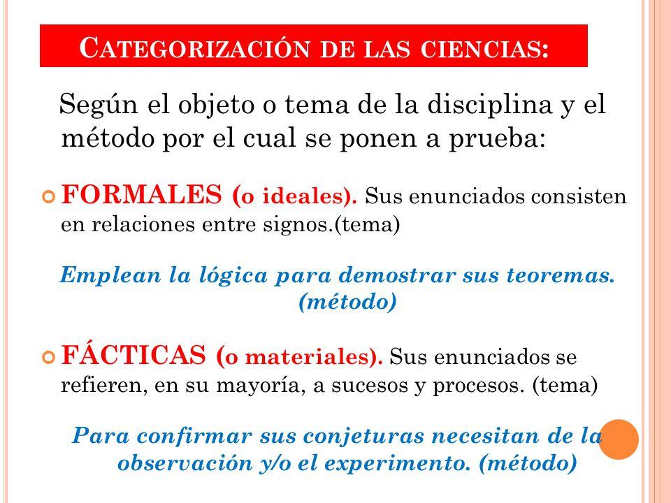 Categorización de las ciencias: