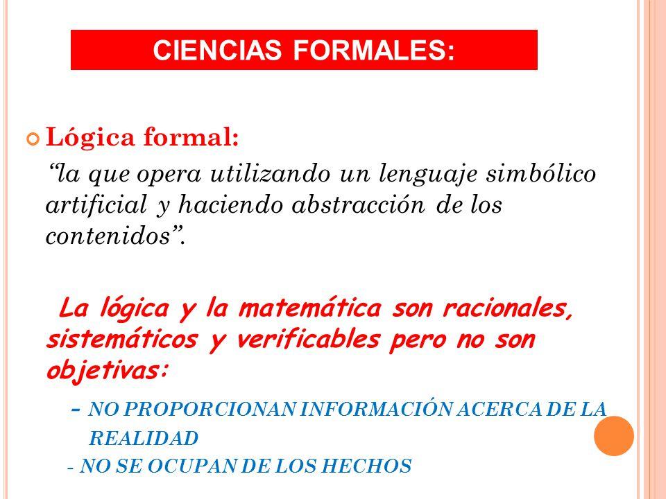 CIENCIAS FORMALES: Lógica formal: