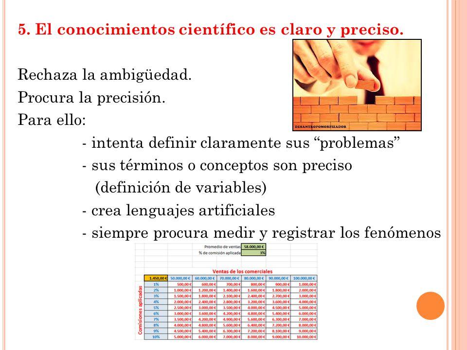 5. El conocimientos científico es claro y preciso.