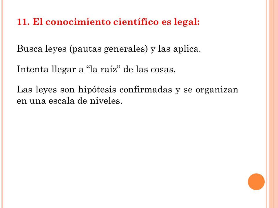 11. El conocimiento científico es legal: