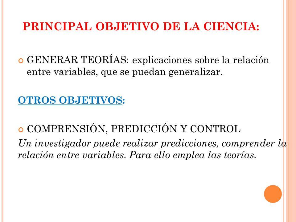 PRINCIPAL OBJETIVO DE LA CIENCIA: