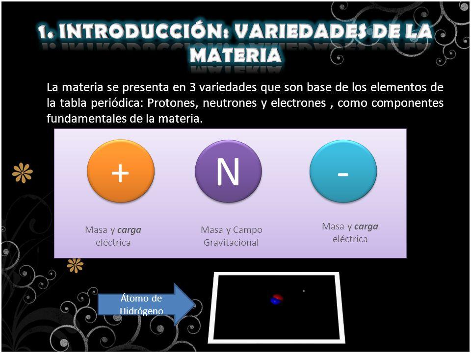 1. INTRODUCCIÓN: VARIEDADES DE LA MATERIA