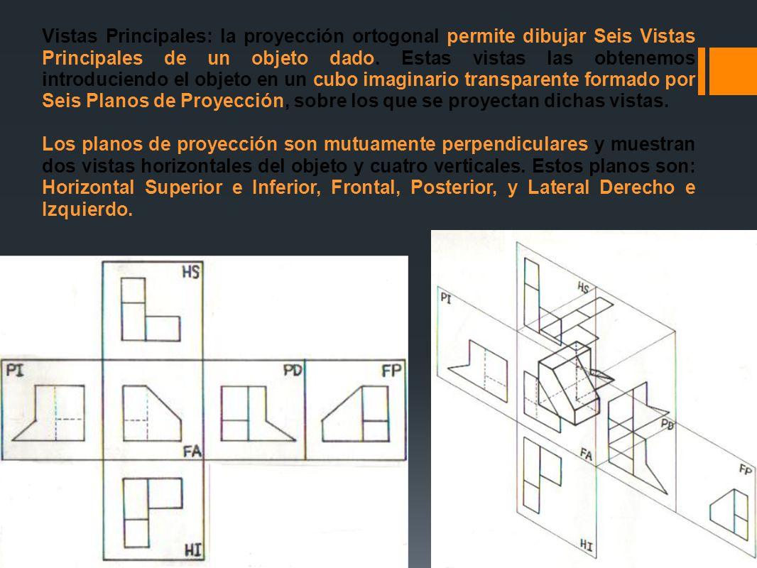Vistas Principales: la proyección ortogonal permite dibujar Seis Vistas Principales de un objeto dado. Estas vistas las obtenemos introduciendo el objeto en un cubo imaginario transparente formado por Seis Planos de Proyección, sobre los que se proyectan dichas vistas.