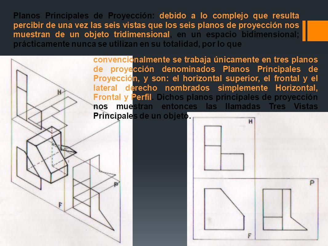 Planos Principales de Proyección: debido a lo complejo que resulta percibir de una vez las seis vistas que los seis planos de proyección nos muestran de un objeto tridimensional, en un espacio bidimensional; prácticamente nunca se utilizan en su totalidad, por lo que