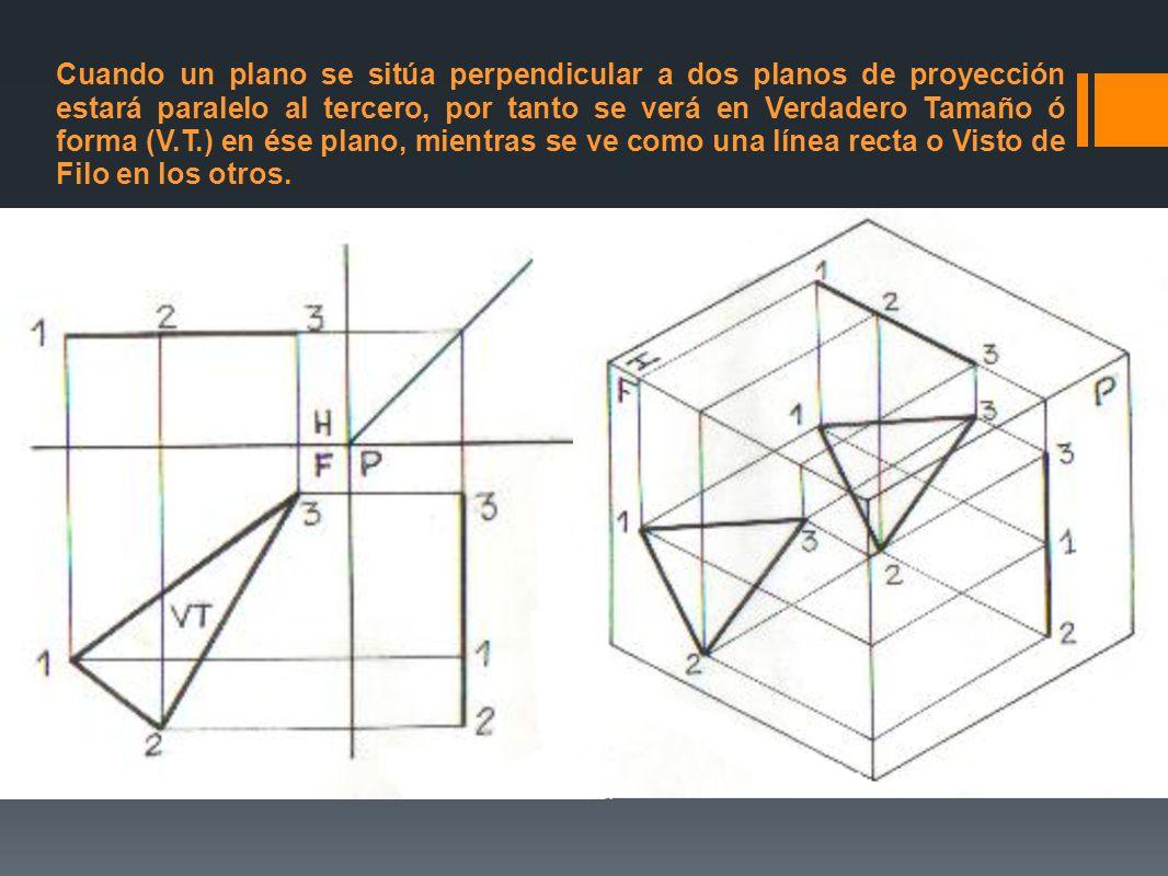 Cuando un plano se sitúa perpendicular a dos planos de proyección estará paralelo al tercero, por tanto se verá en Verdadero Tamaño ó forma (V.T.) en ése plano, mientras se ve como una línea recta o Visto de Filo en los otros.