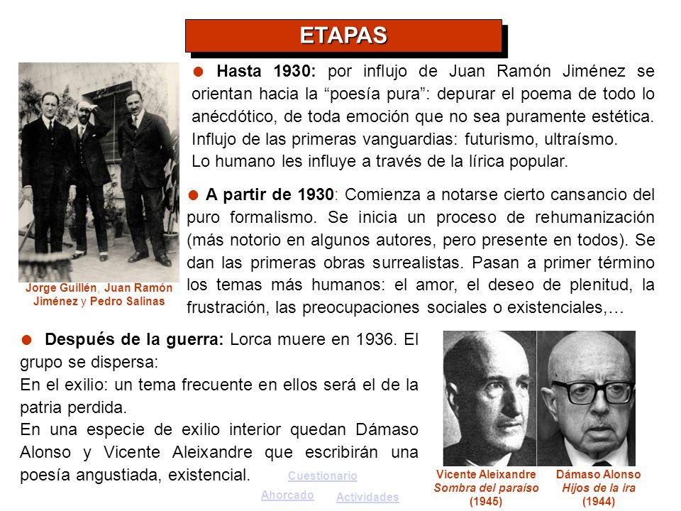 Jorge Guillén, Juan Ramón Jiménez y Pedro Salinas
