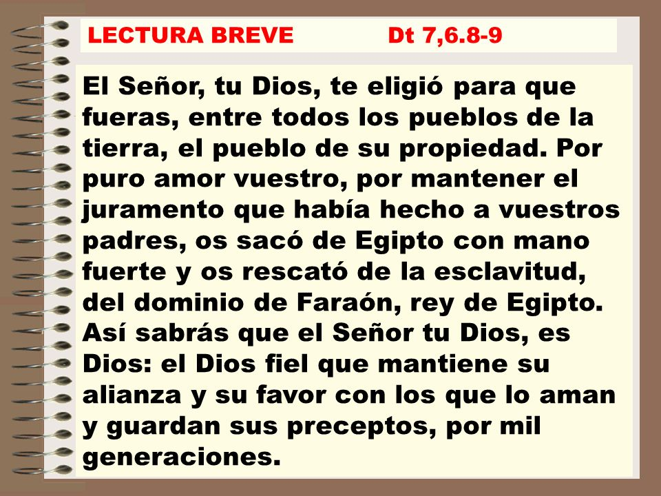 LECTURA BREVE Dt 7,6.8-9