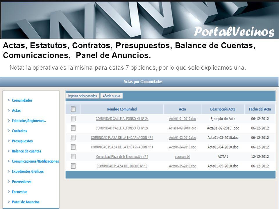 PortalVecinos Actas, Estatutos, Contratos, Presupuestos, Balance de Cuentas, Comunicaciones, Panel de Anuncios.