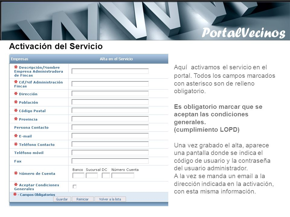 PortalVecinos Activación del Servicio