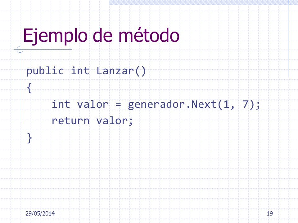 Ejemplo de método public int Lanzar() { int valor = generador.Next(1, 7); return valor; } 31/03/2017.