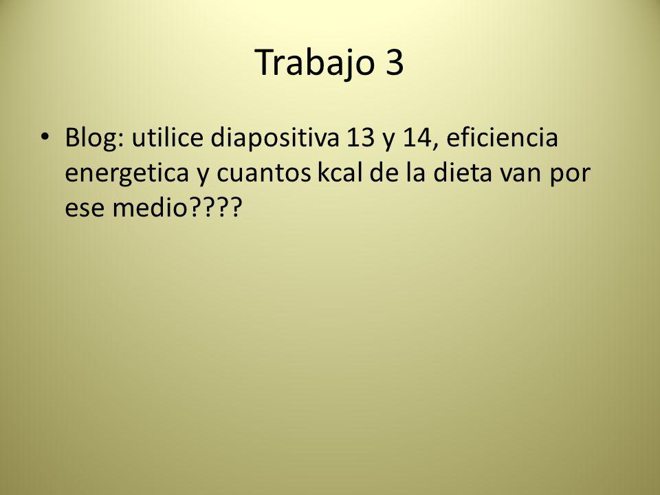 Trabajo 3 Blog: utilice diapositiva 13 y 14, eficiencia energetica y cuantos kcal de la dieta van por ese medio