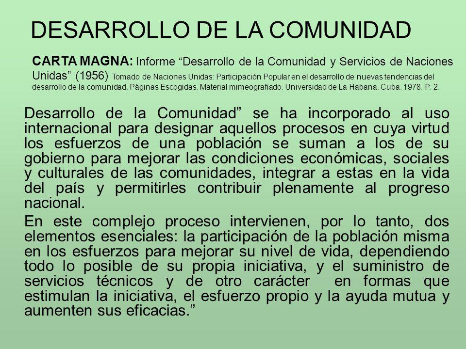 DESARROLLO DE LA COMUNIDAD