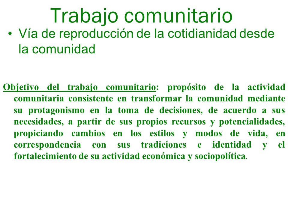 Trabajo comunitario Vía de reproducción de la cotidianidad desde la comunidad.