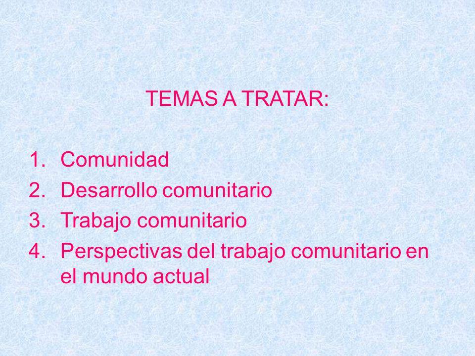 TEMAS A TRATAR: Comunidad. Desarrollo comunitario.
