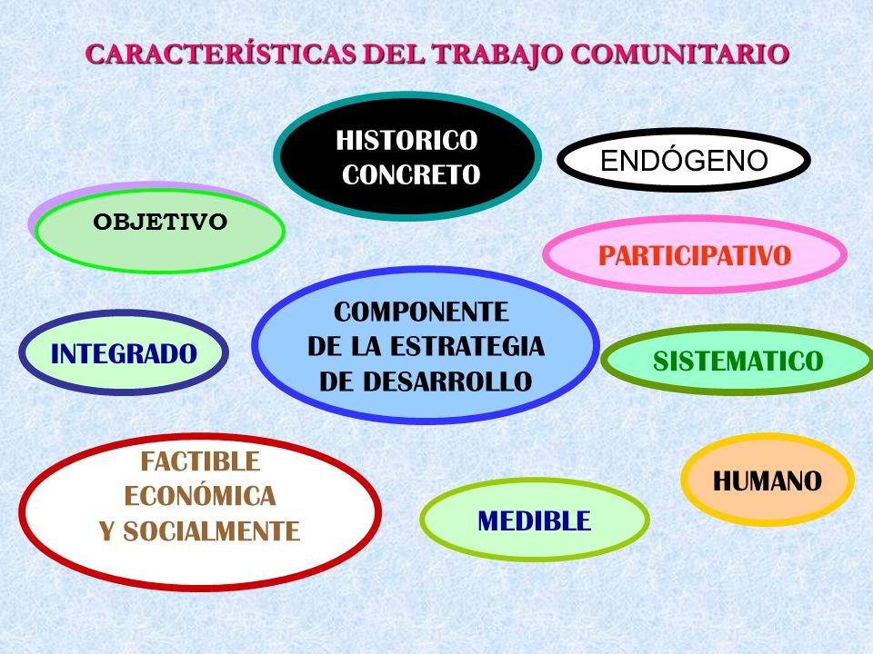 CARACTERÍSTICAS DEL TRABAJO COMUNITARIO