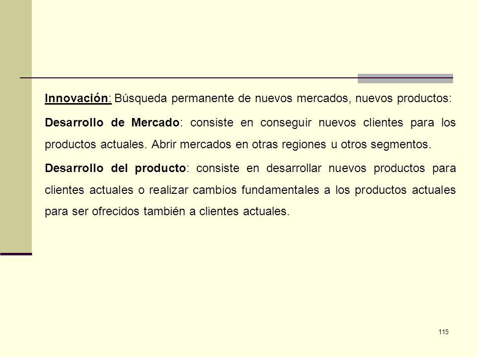 Innovación: Búsqueda permanente de nuevos mercados, nuevos productos:
