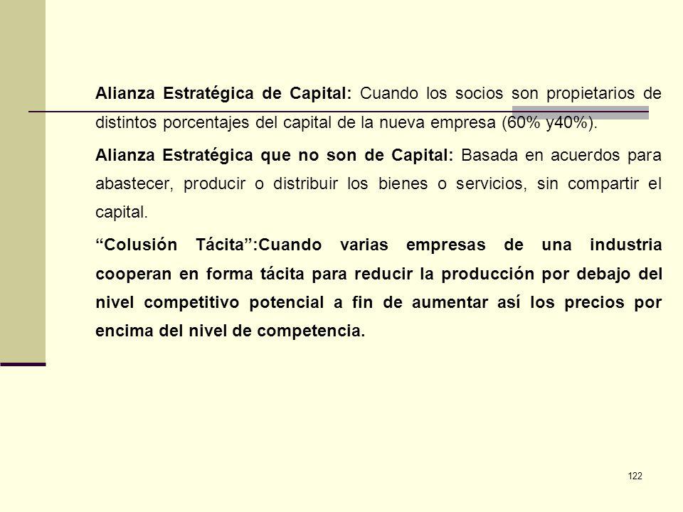 Alianza Estratégica de Capital: Cuando los socios son propietarios de distintos porcentajes del capital de la nueva empresa (60% y40%).