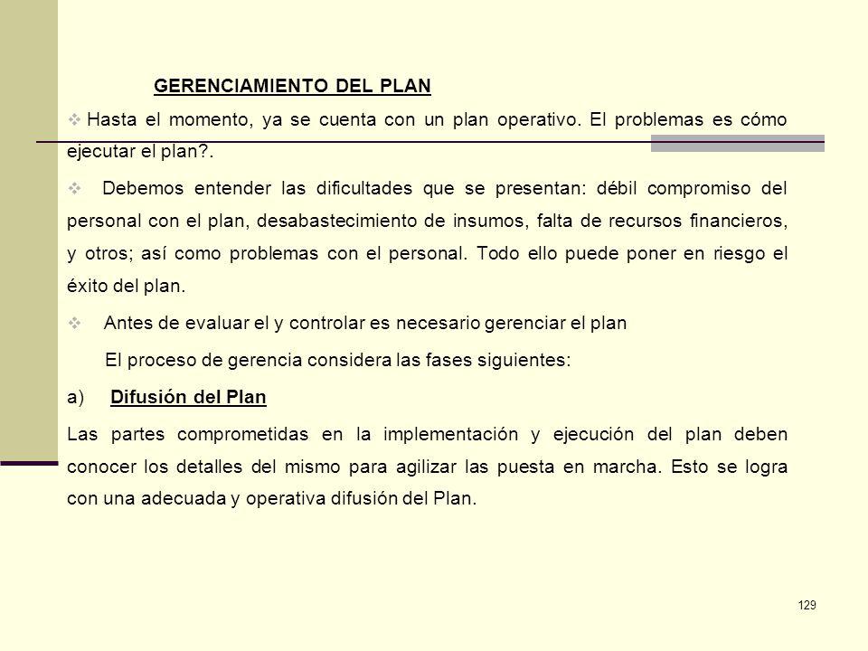GERENCIAMIENTO DEL PLAN