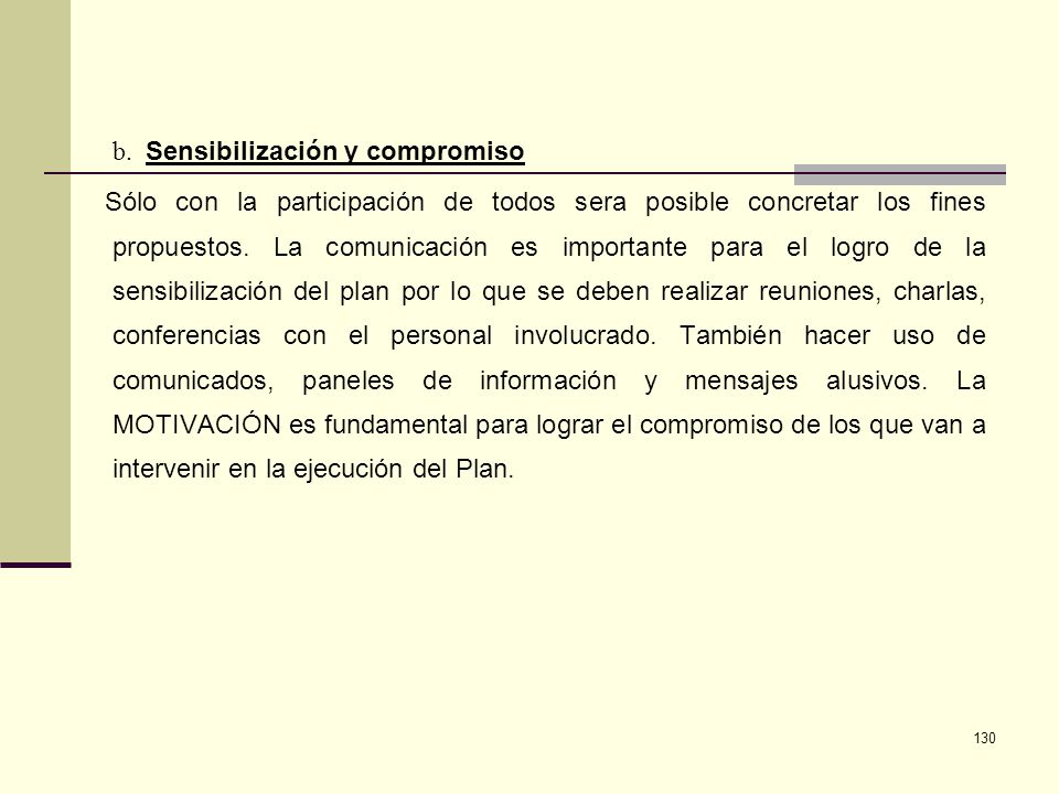 b. Sensibilización y compromiso.