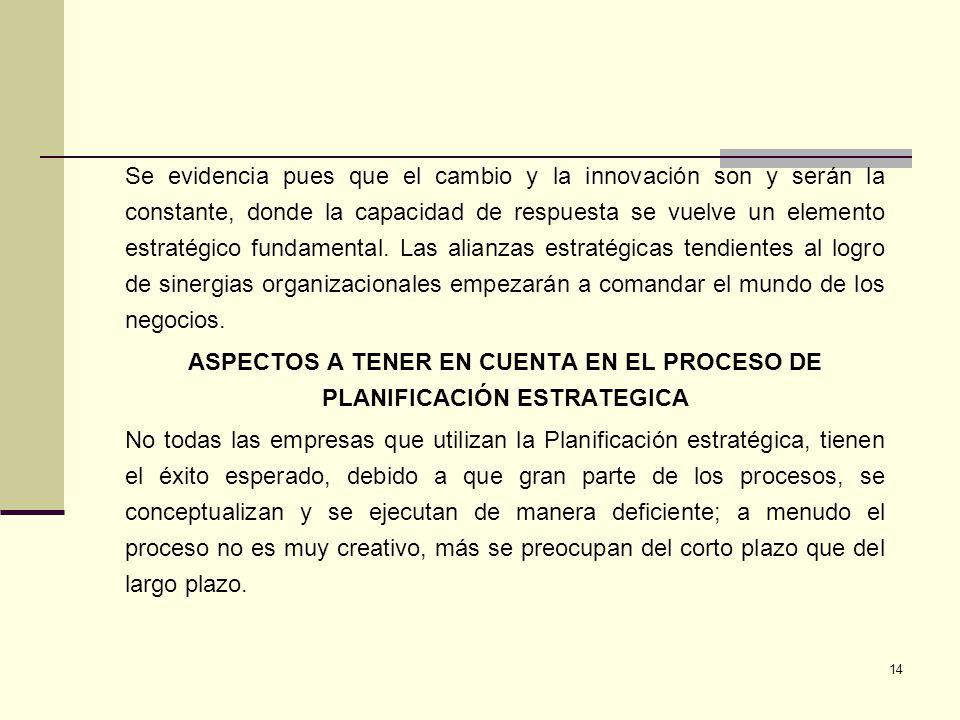 ASPECTOS A TENER EN CUENTA EN EL PROCESO DE PLANIFICACIÓN ESTRATEGICA
