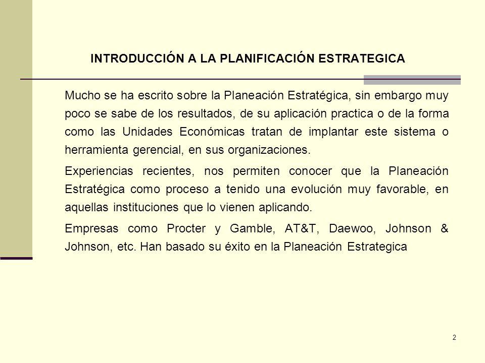 INTRODUCCIÓN A LA PLANIFICACIÓN ESTRATEGICA