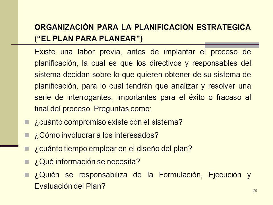 ORGANIZACIÓN PARA LA PLANIFICACIÓN ESTRATEGICA ( EL PLAN PARA PLANEAR )
