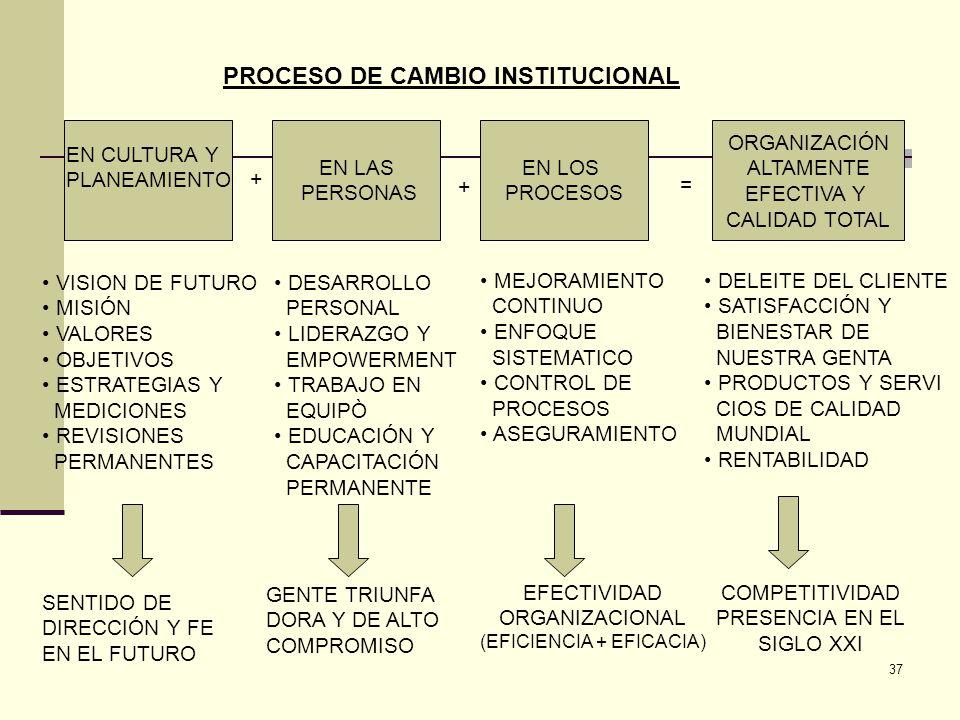 PROCESO DE CAMBIO INSTITUCIONAL