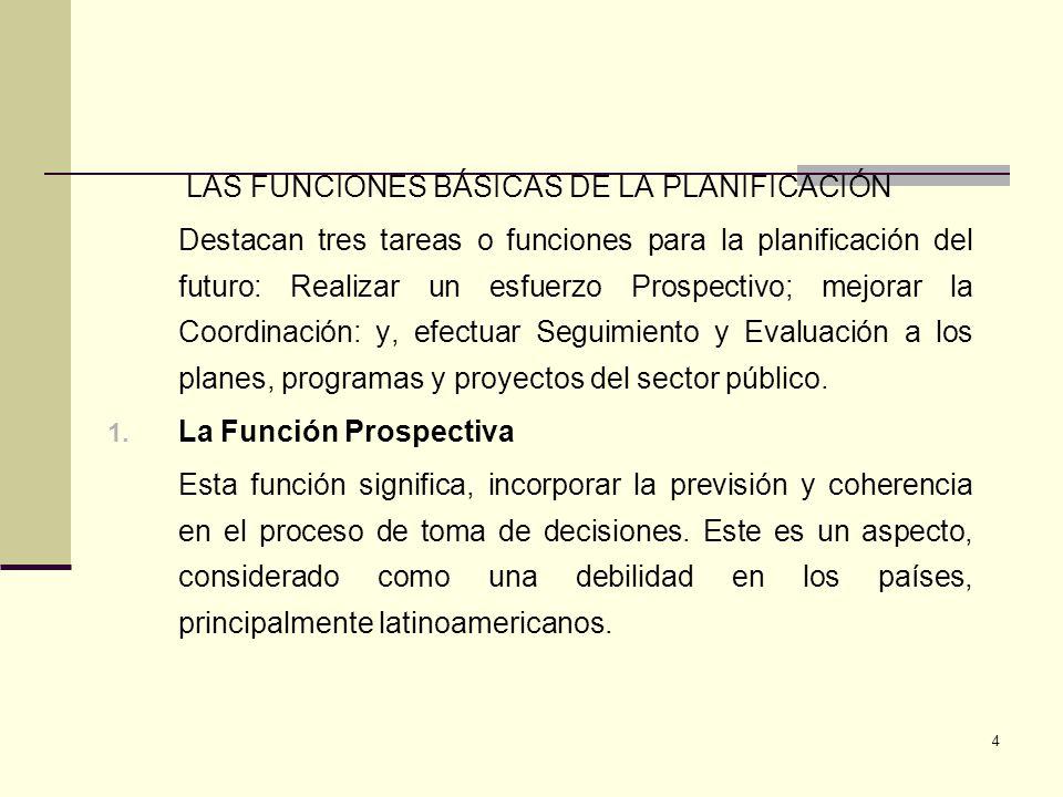 LAS FUNCIONES BÁSICAS DE LA PLANIFICACIÓN