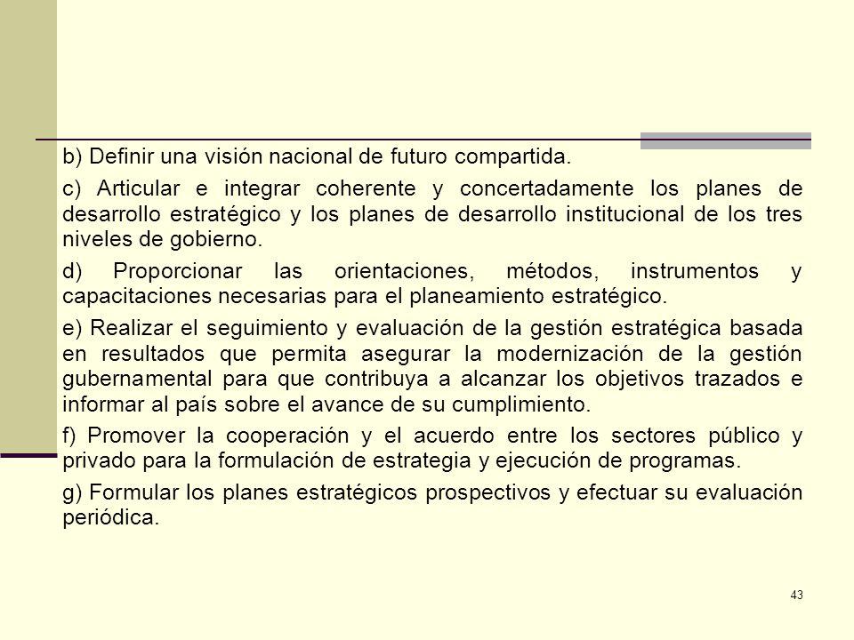 b) Definir una visión nacional de futuro compartida