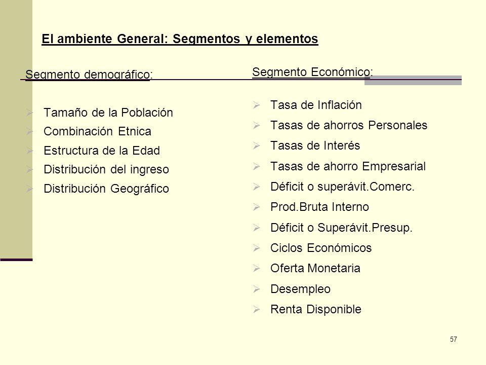 El ambiente General: Segmentos y elementos