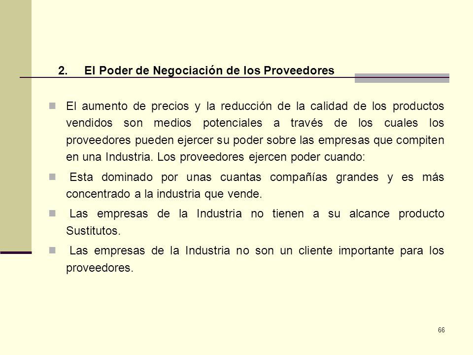 2. El Poder de Negociación de los Proveedores.