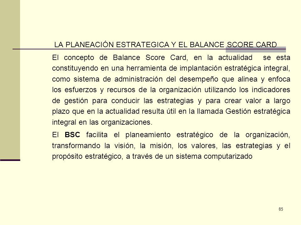 LA PLANEACIÓN ESTRATEGICA Y EL BALANCE SCORE CARD