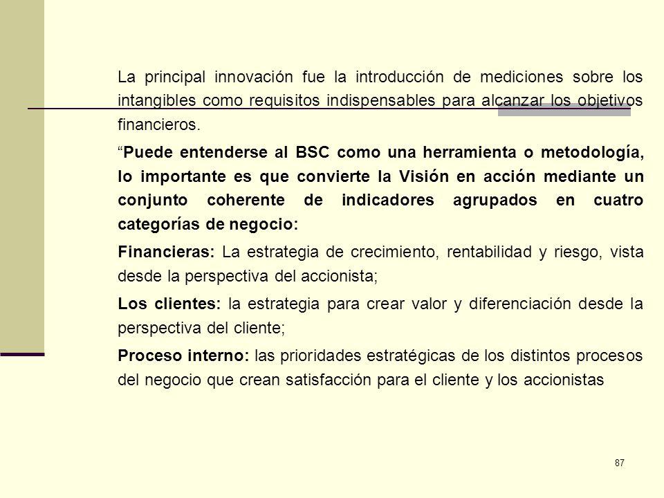 La principal innovación fue la introducción de mediciones sobre los intangibles como requisitos indispensables para alcanzar los objetivos financieros.