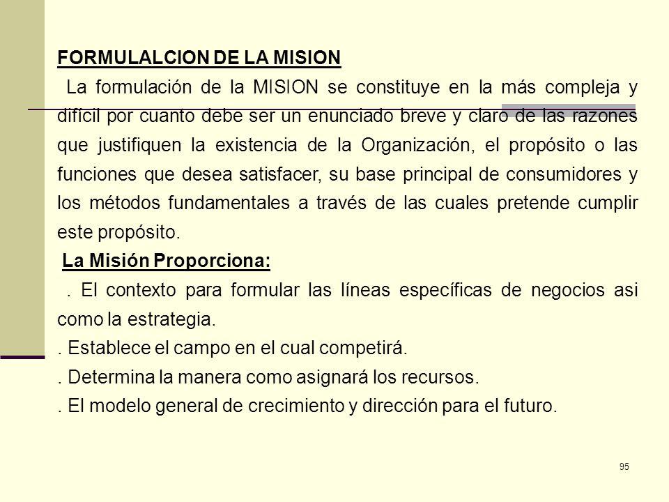 FORMULALCION DE LA MISION
