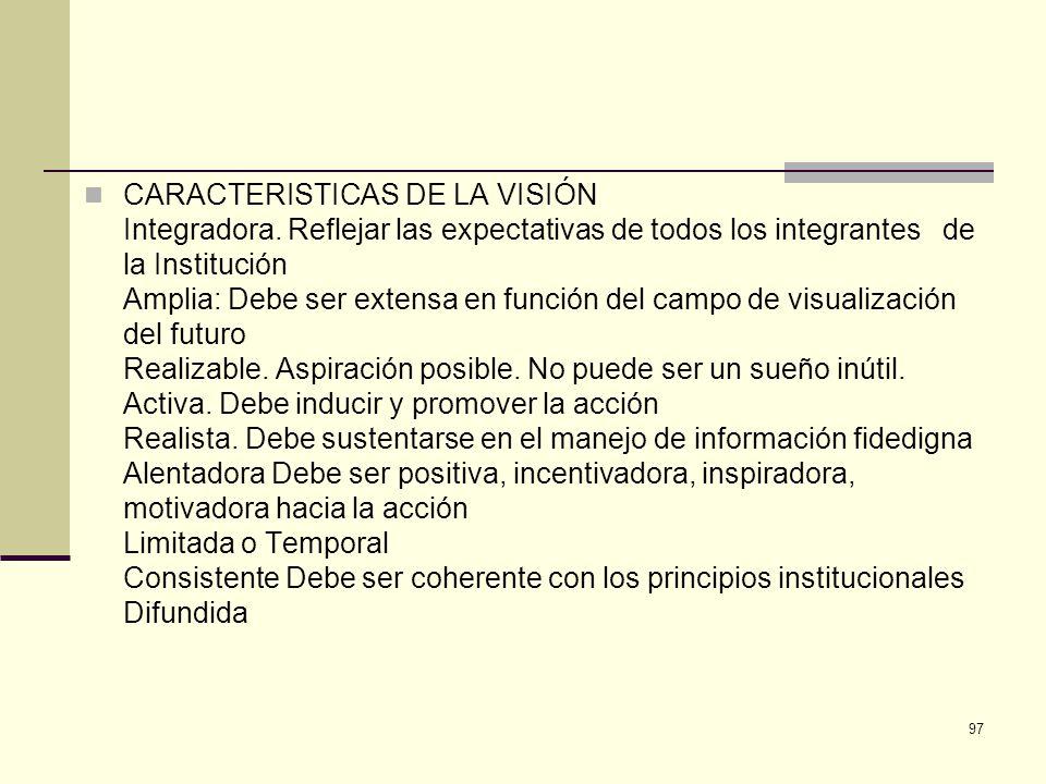 CARACTERISTICAS DE LA VISIÓN Integradora