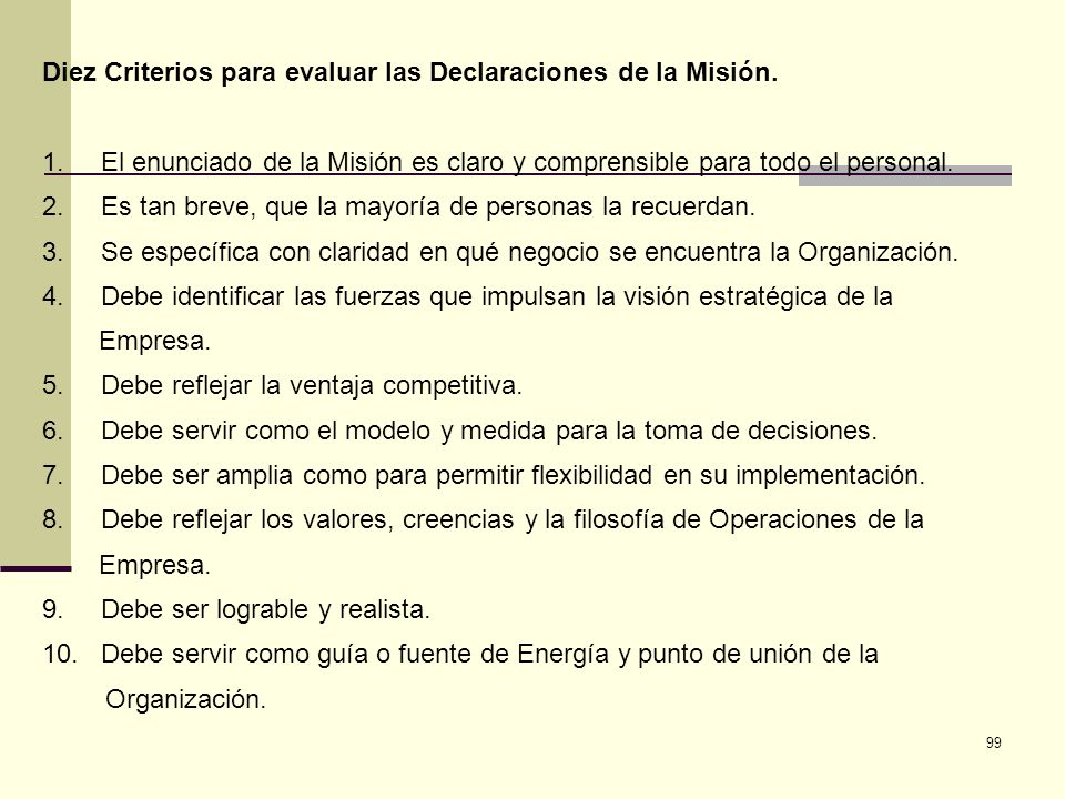 Diez Criterios para evaluar las Declaraciones de la Misión.