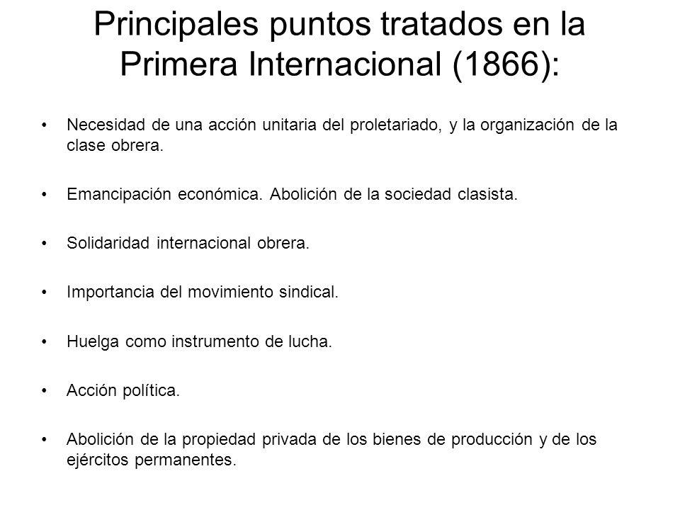 Principales puntos tratados en la Primera Internacional (1866):