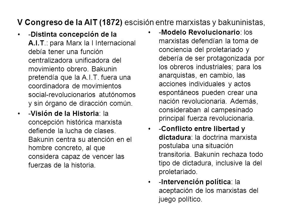 V Congreso de la AIT (1872) escisión entre marxistas y bakuninistas,