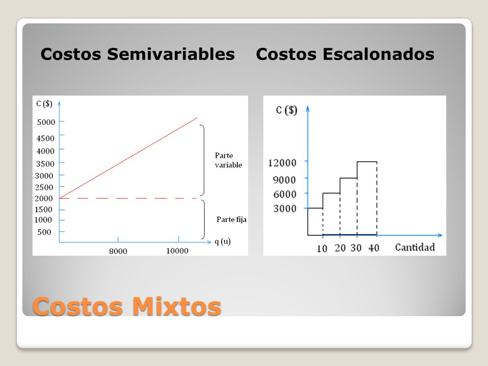 Costos Semivariables Costos Escalonados Costos Mixtos
