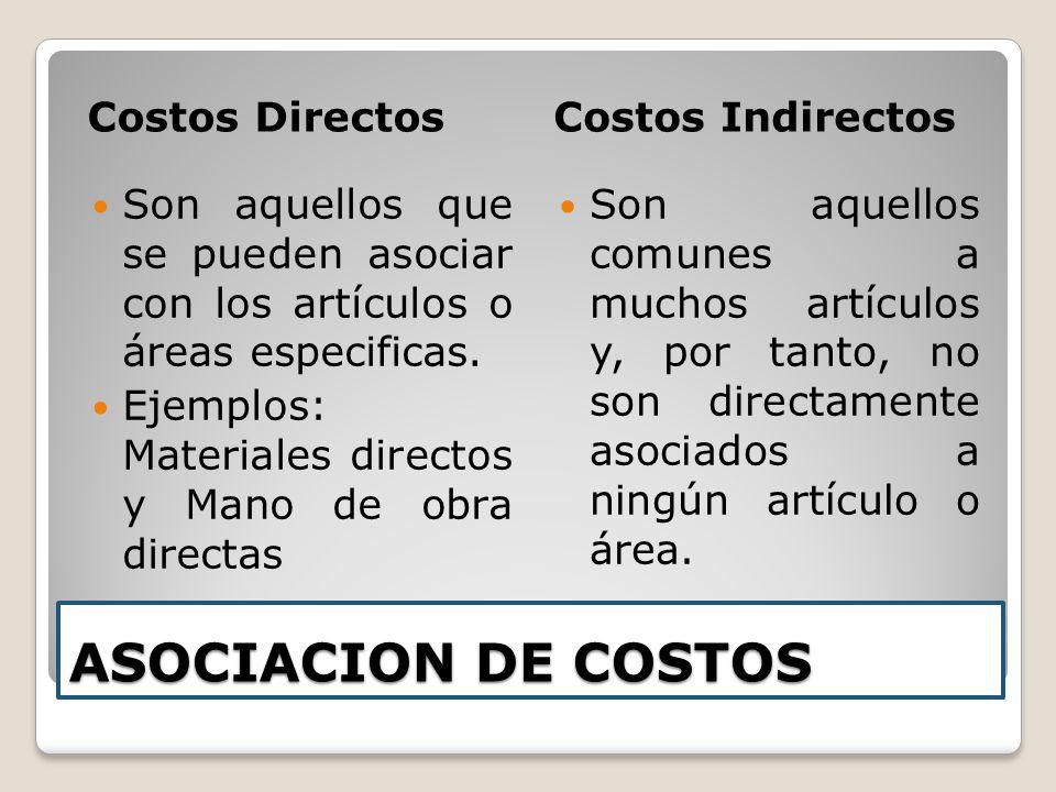 ASOCIACION DE COSTOS Costos Directos Costos Indirectos