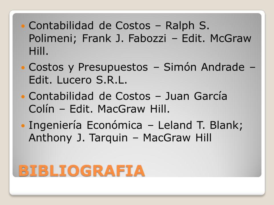 Contabilidad de Costos – Ralph S. Polimeni; Frank J. Fabozzi – Edit