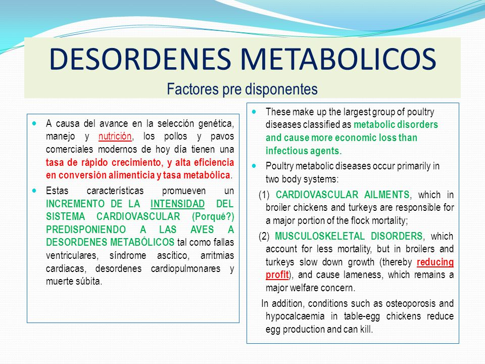 DESORDENES METABOLICOS Factores pre disponentes