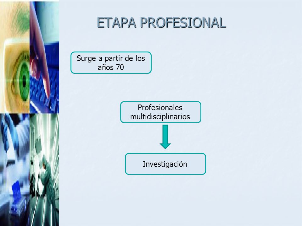 ETAPA PROFESIONAL Surge a partir de los años 70
