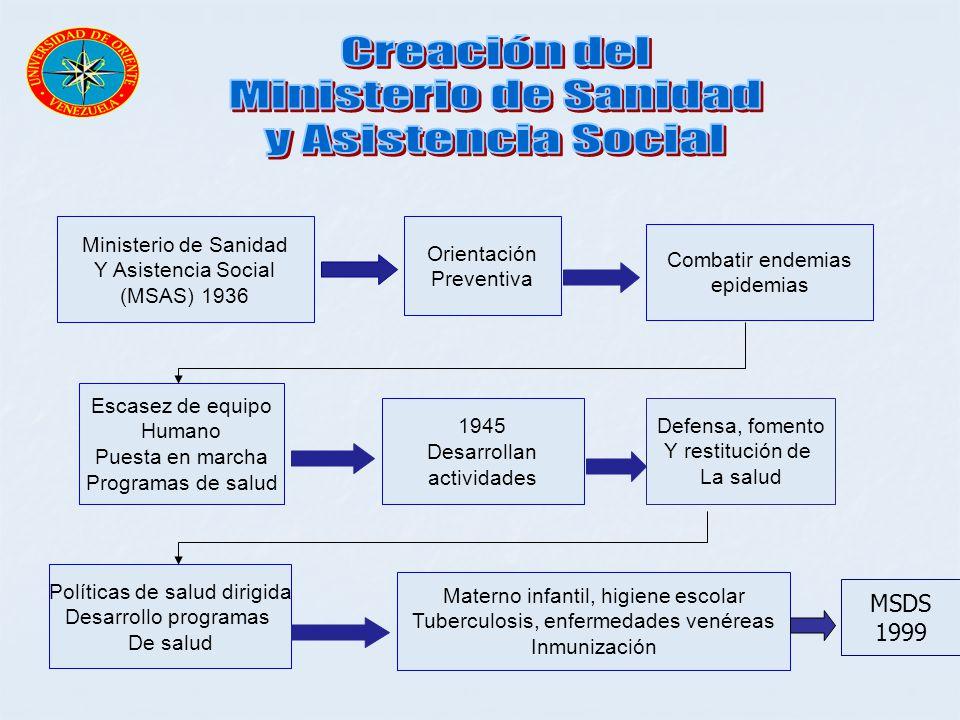 Creación del Ministerio de Sanidad y Asistencia Social MSDS 1999